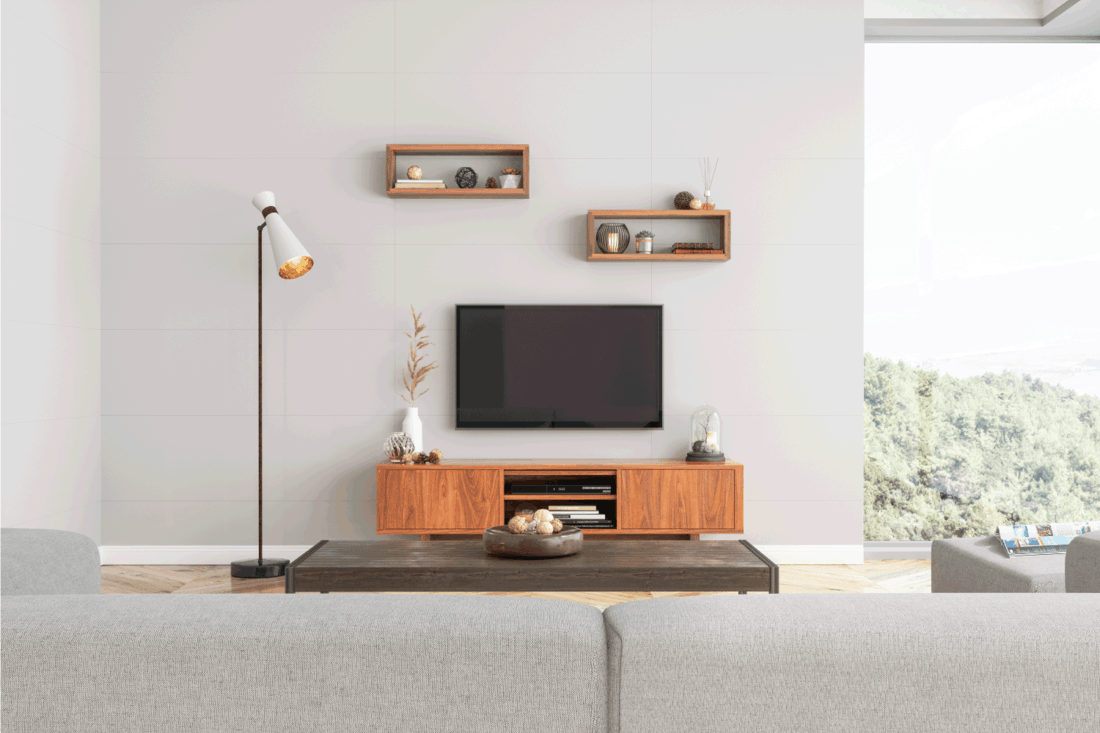 Smart Tv in modern living room with wood accents