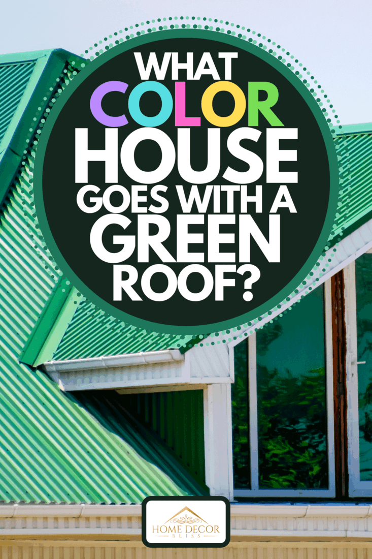 A house with plastic windows and a green roof of corrugated sheet, What Color House Goes With A Green Roof?