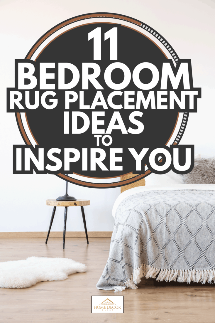 White rug and lamp on stool next to bed in simple bedroom with white wall. 11 Bedroom Rug Placement Ideas To Inspire You