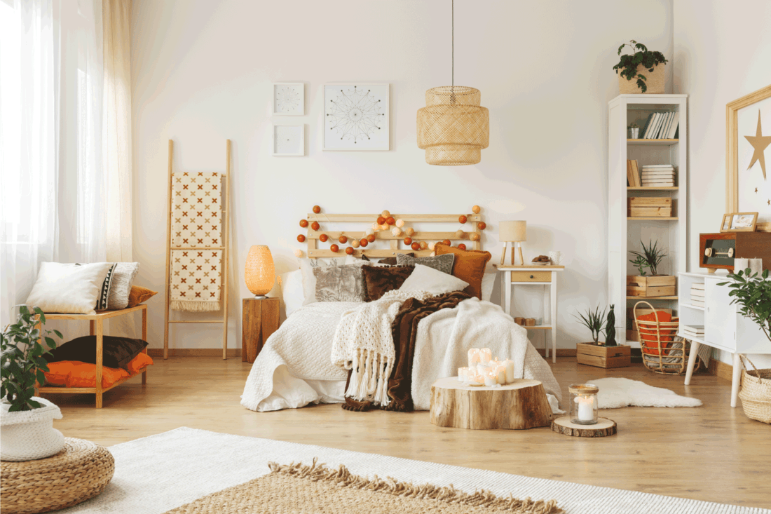 Wooden lampshade in bedroom, boho chic concept bedroom in light airy feels