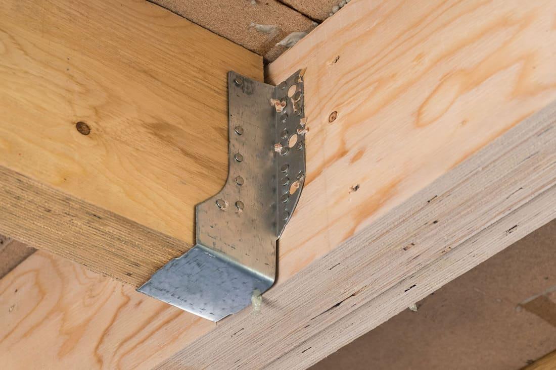 close up view of a joist truss bracket