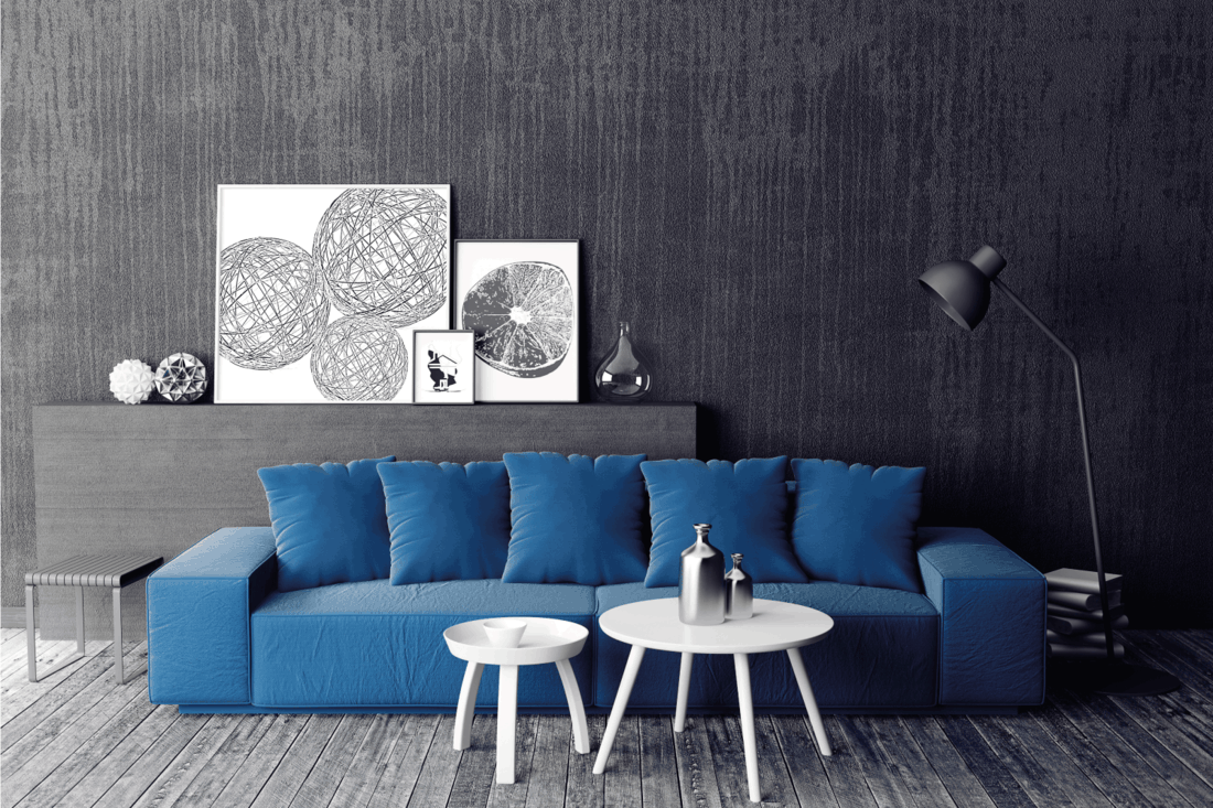 gray theme living room with blue couch