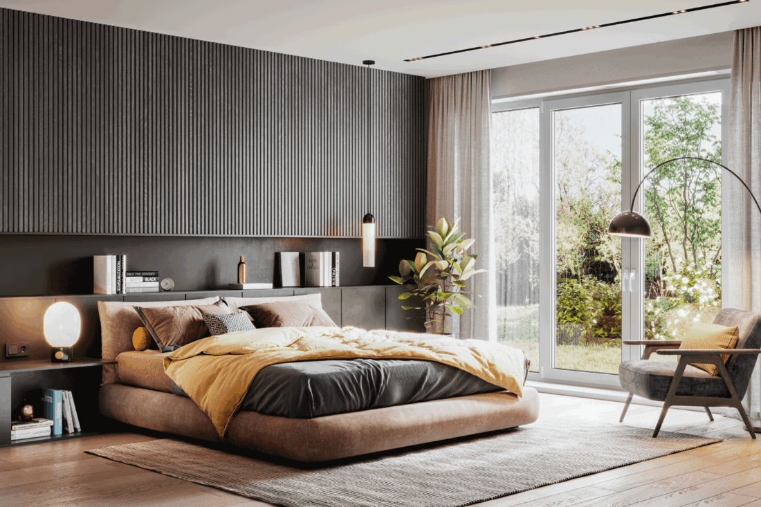 luxurious and elegant bedroom in vintage modern design with dark gray and brown accents