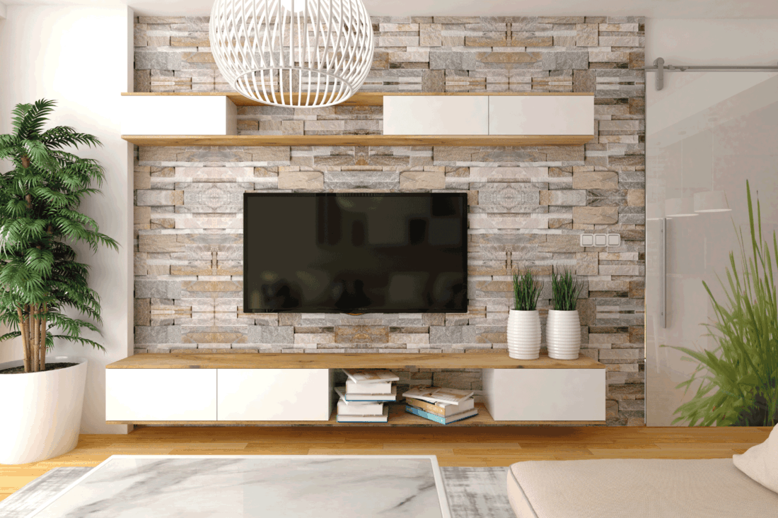 modern interior living room with rock pile back wall, indoor plants