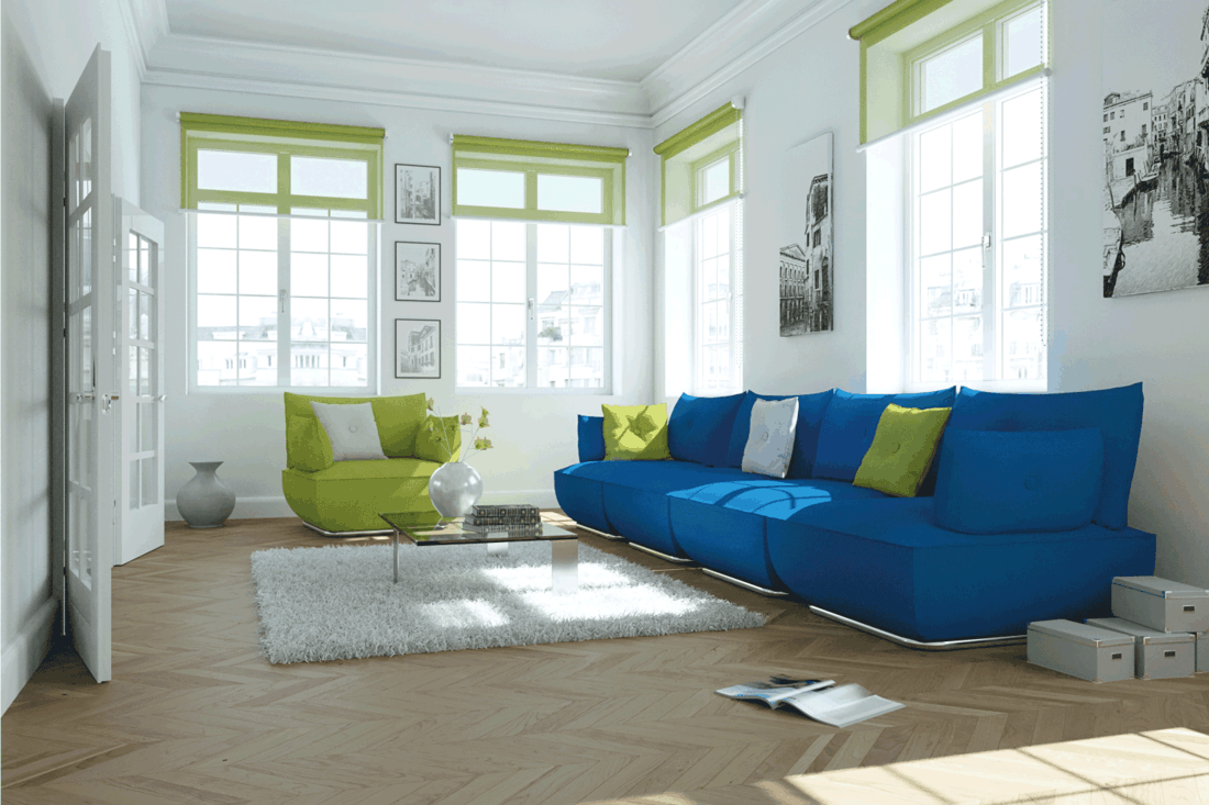 modern style scandinavian design with color blocking. green and blue couch