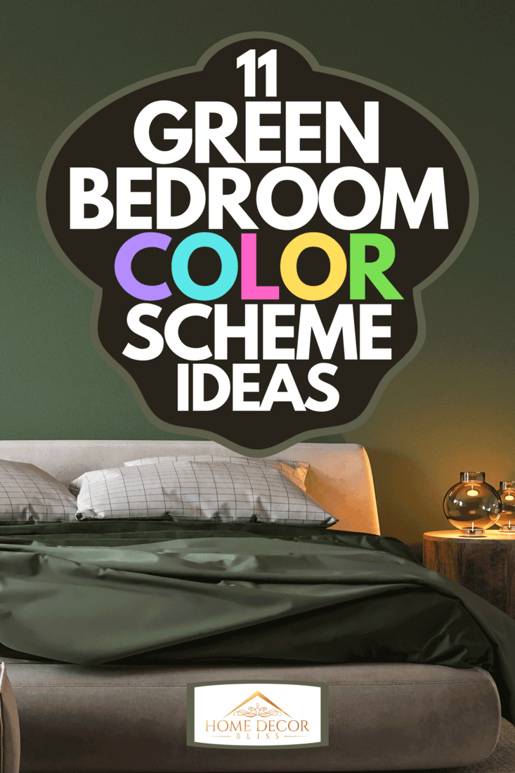 A cozy green bedroom with bright furniture natural wooden table, 11 Green Bedroom Color Scheme Ideas