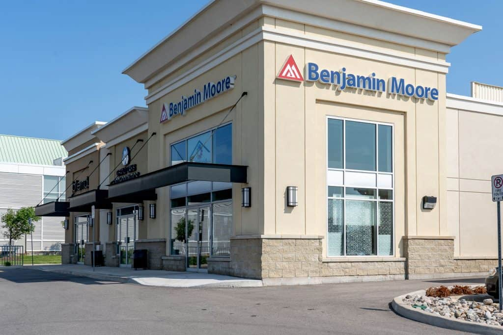 A big Benjamin Moore paint store photographed outside, How To Paint With Benjamin Moore Aura