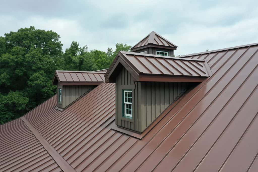 A brown colored roofing of a luxurious residential mansion