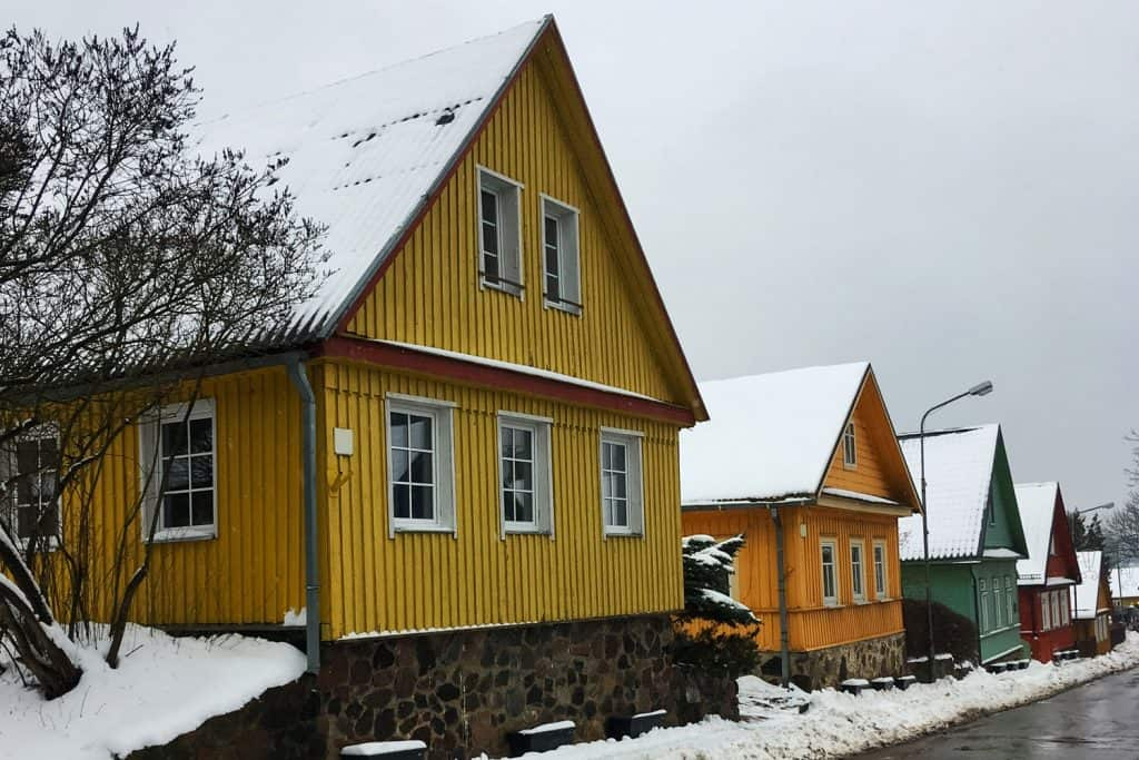 Beautiful houses in the snowy regions of America