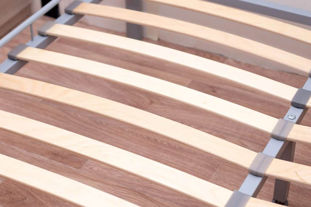 Detailed photo of the bed slat framing