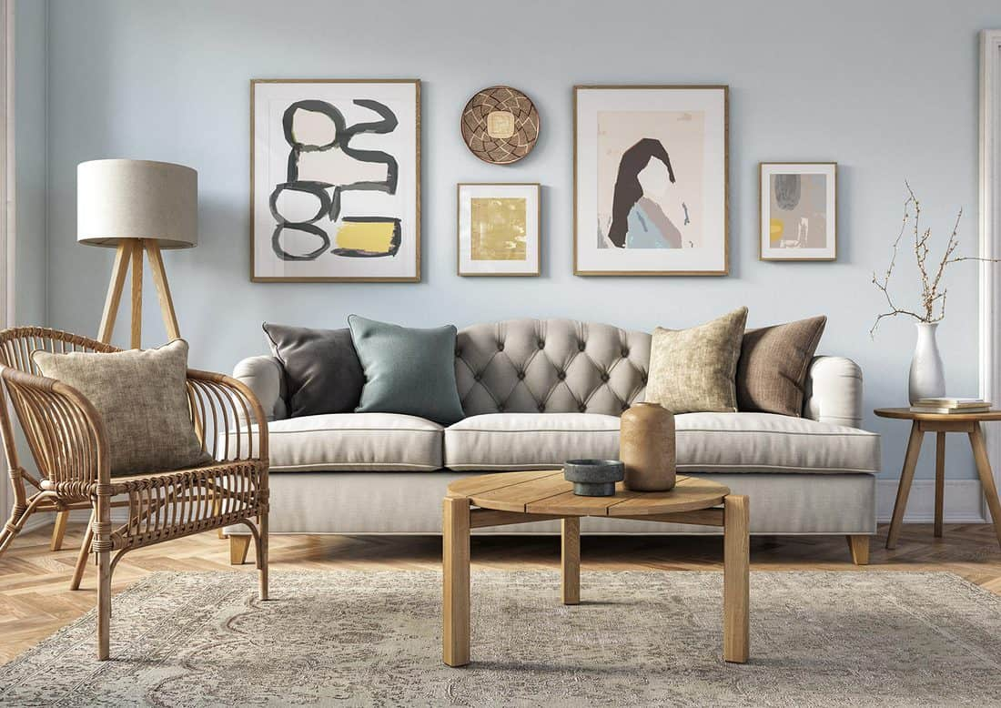 Bohemian living room with couch