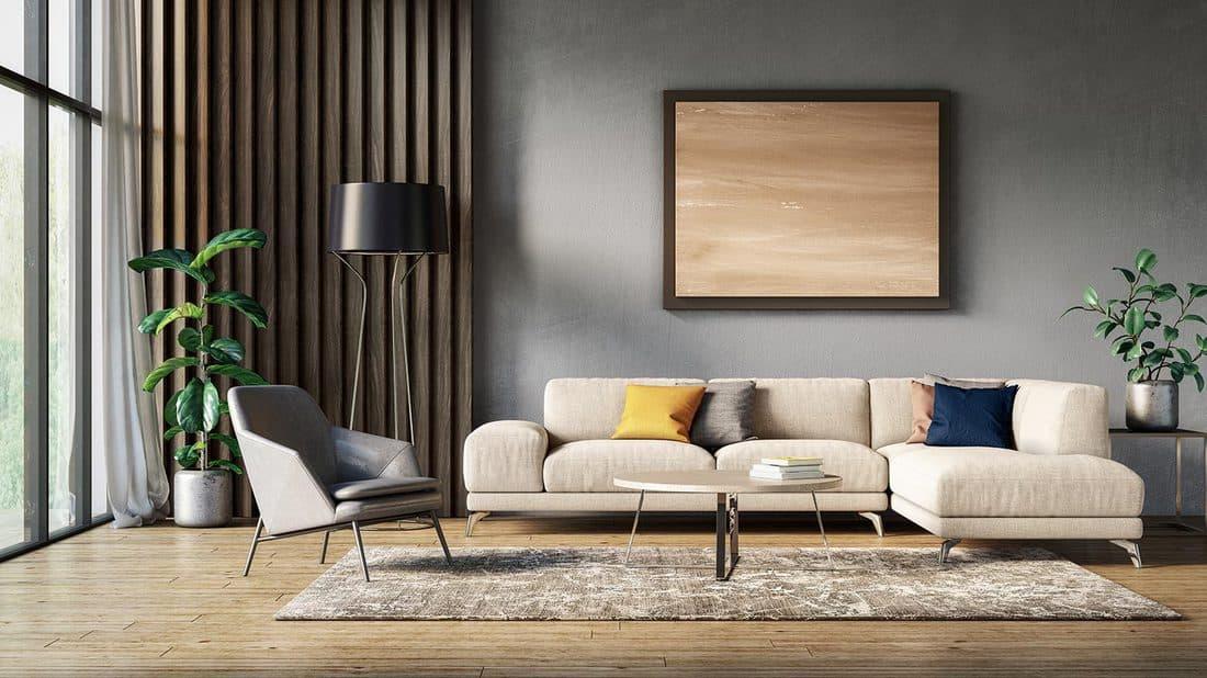 Couch in a modern Scandinavian living room