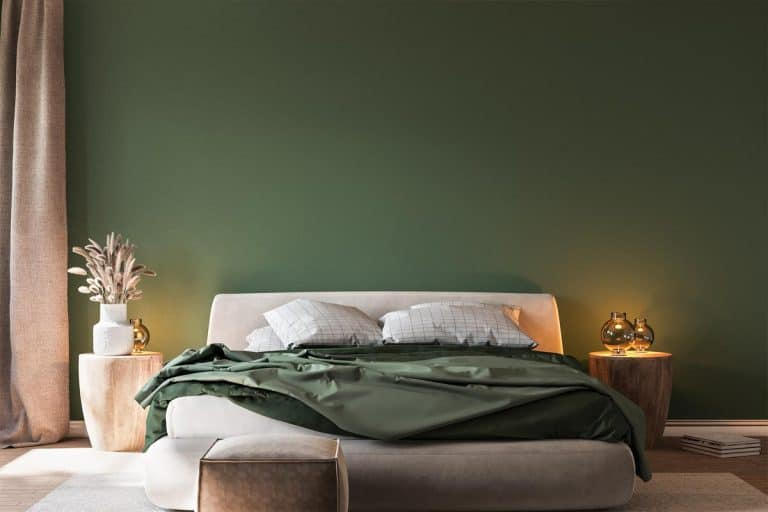 Cozy green bedroom with bright furniture natural wooden table, 11 Green Bedroom Color Scheme Ideas