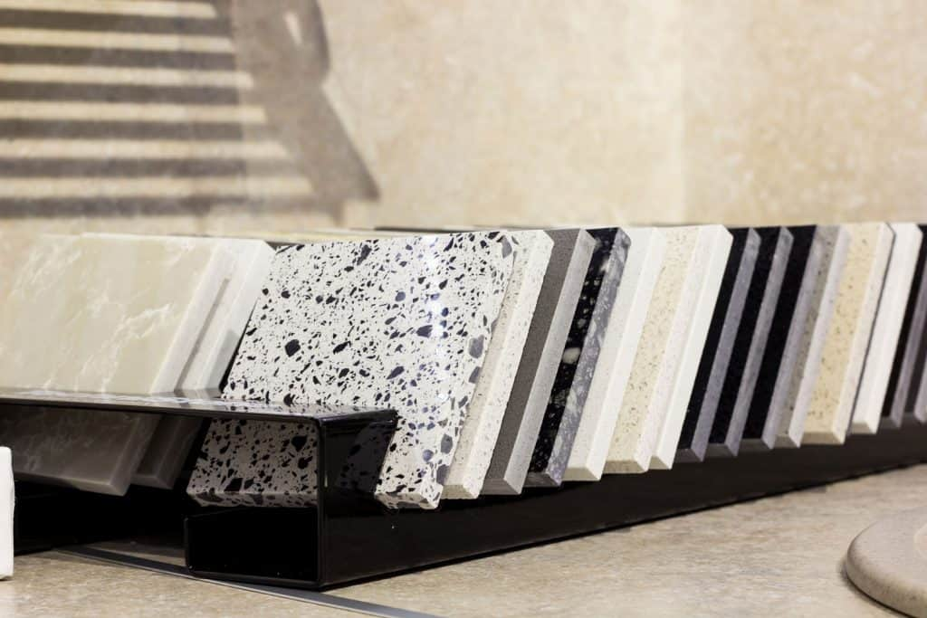 Different textures and design of quartz agglomerate for a kitchen countertop