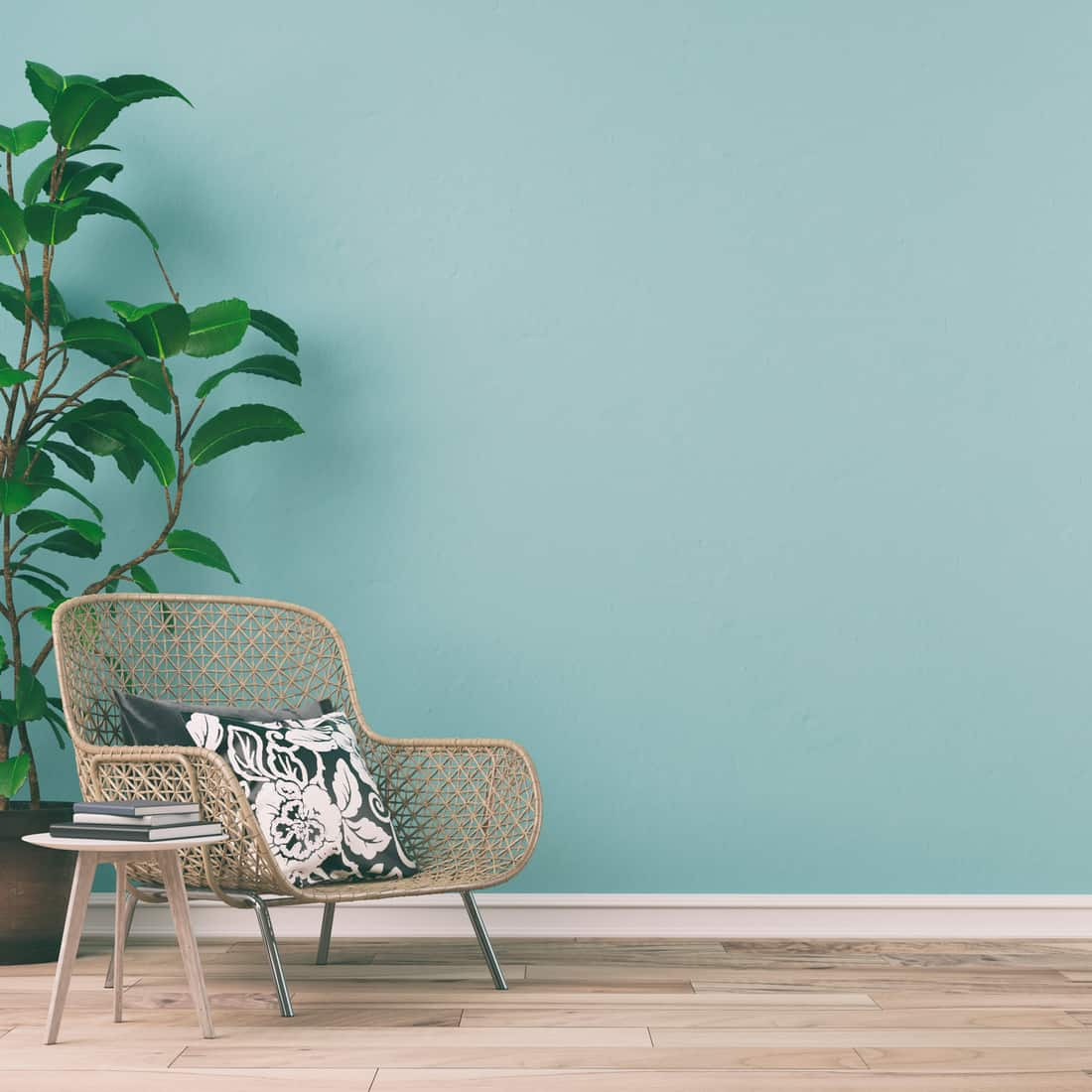 Empty retro interior on mint wall background on hardwood floor with copy space and decoration. Slight vintage effect added.