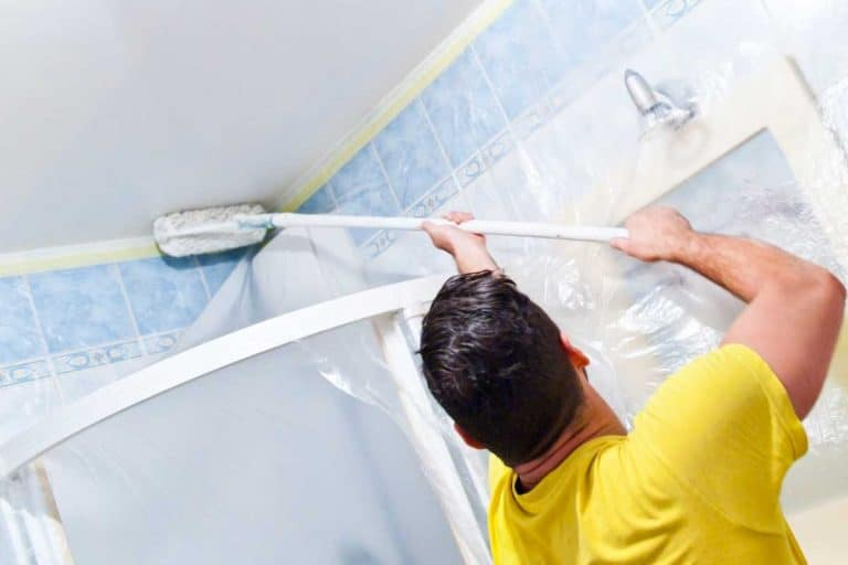 House painter painting the inside of a house bathroom, How To Paint A Bathroom Ceiling