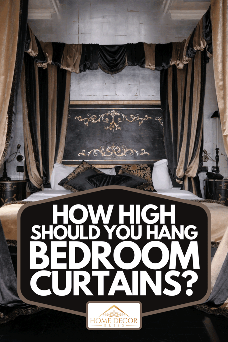 A bedroom with stylish curtain design, How High Should You Hang Bedroom Curtains?