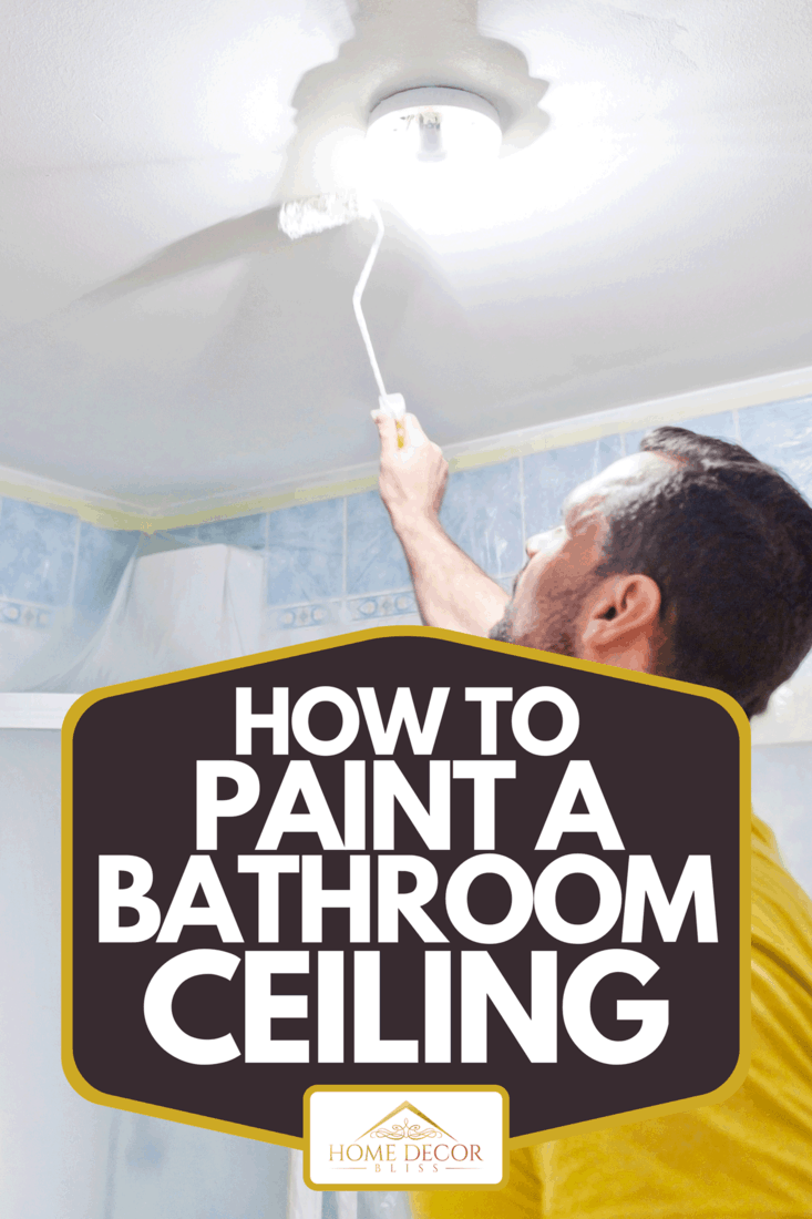 A house painter painting the inside of a house bathroom, How To Paint A Bathroom Ceiling