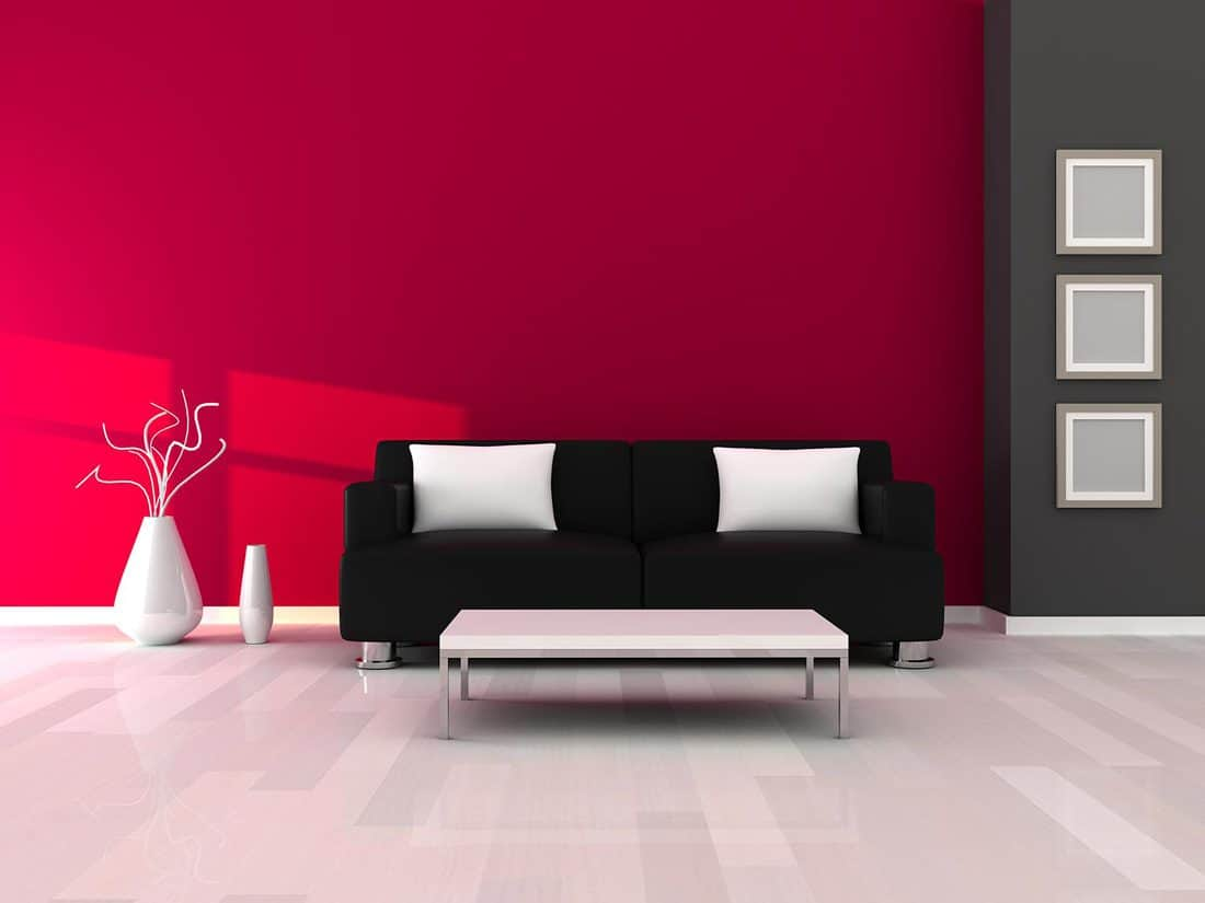 Interior of the modern room with gray and pink wall and black sofa