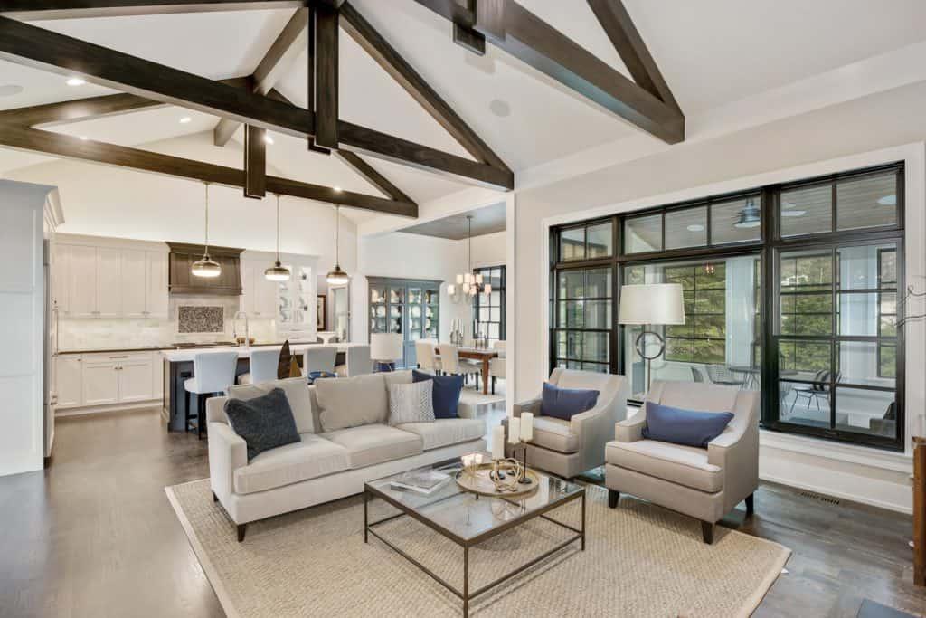 Large a-frame ceiling beams give a tasteful look of elegance