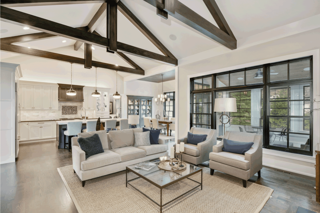 Large a-frame ceiling beams give a tasteful look of elegance. How Much Space Between Furniture For Walking