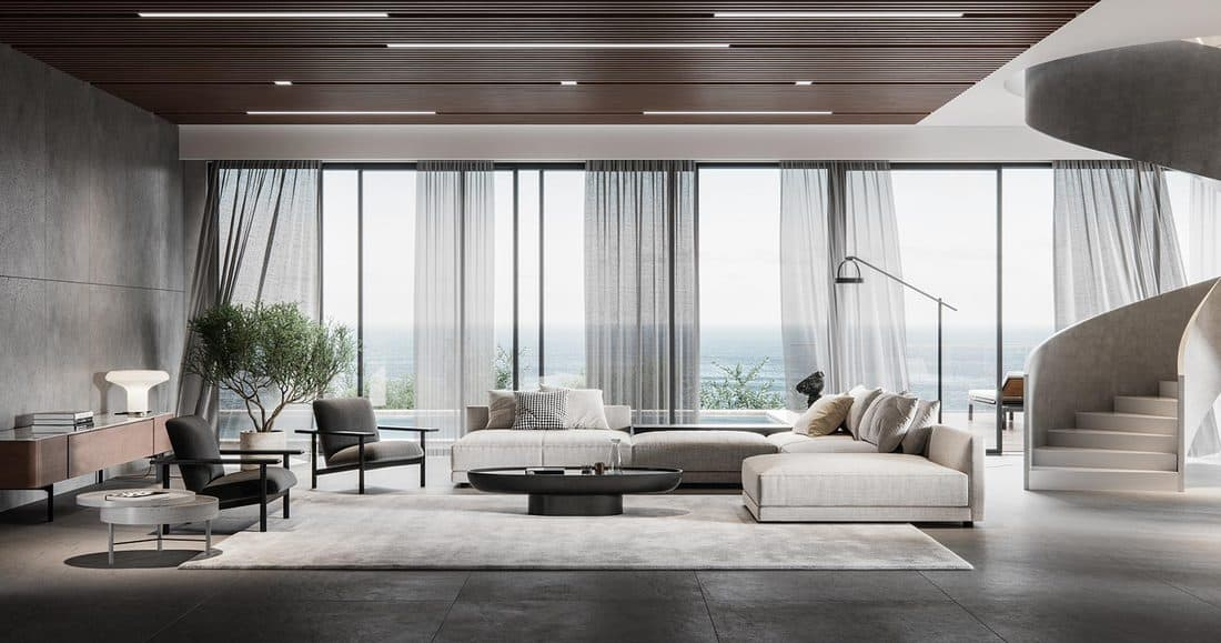 Large and luxurious interiors of a modern living room
