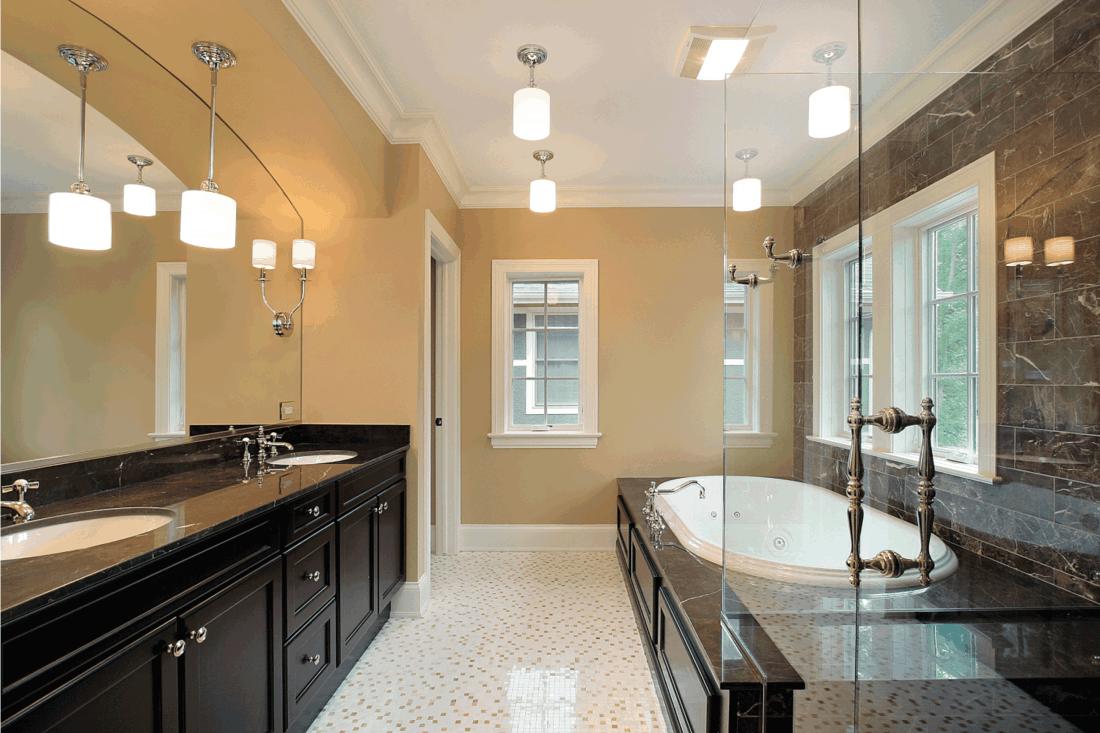 Master bath with glass shower, warm white vs cool white