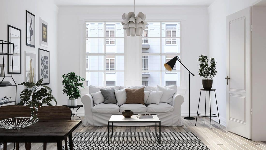 Modern Scandinavian living room with table and white couch