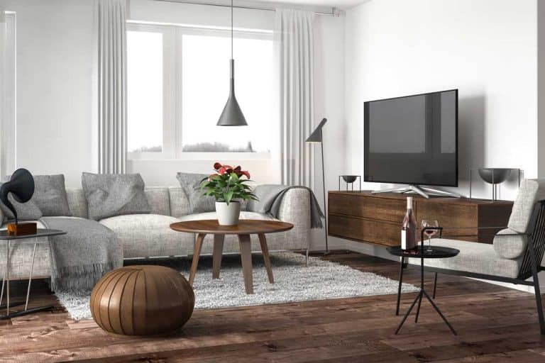 Modern living room interior with white walls and hardwood floor, What Color Walls Go With Brown Floor?