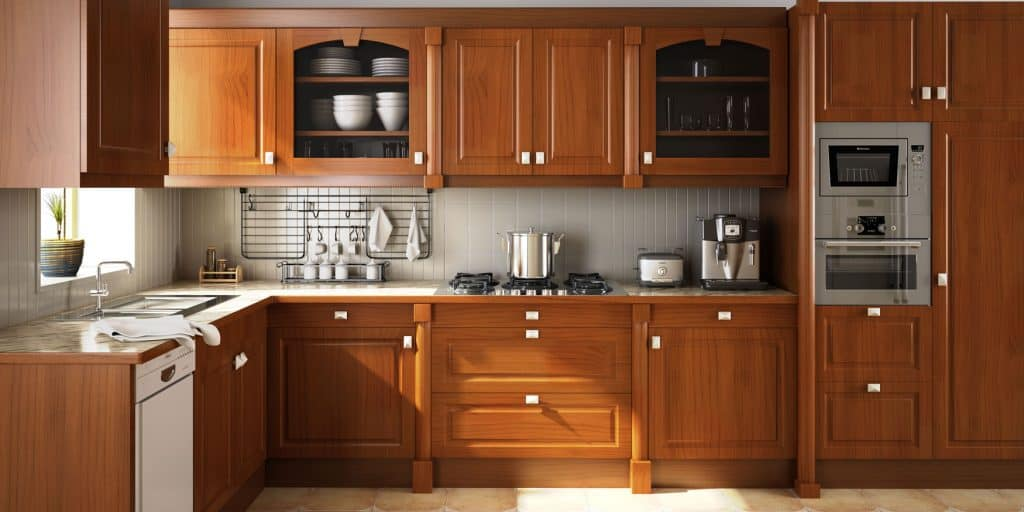 Oak cabinets inside a spacious and modern kitchen