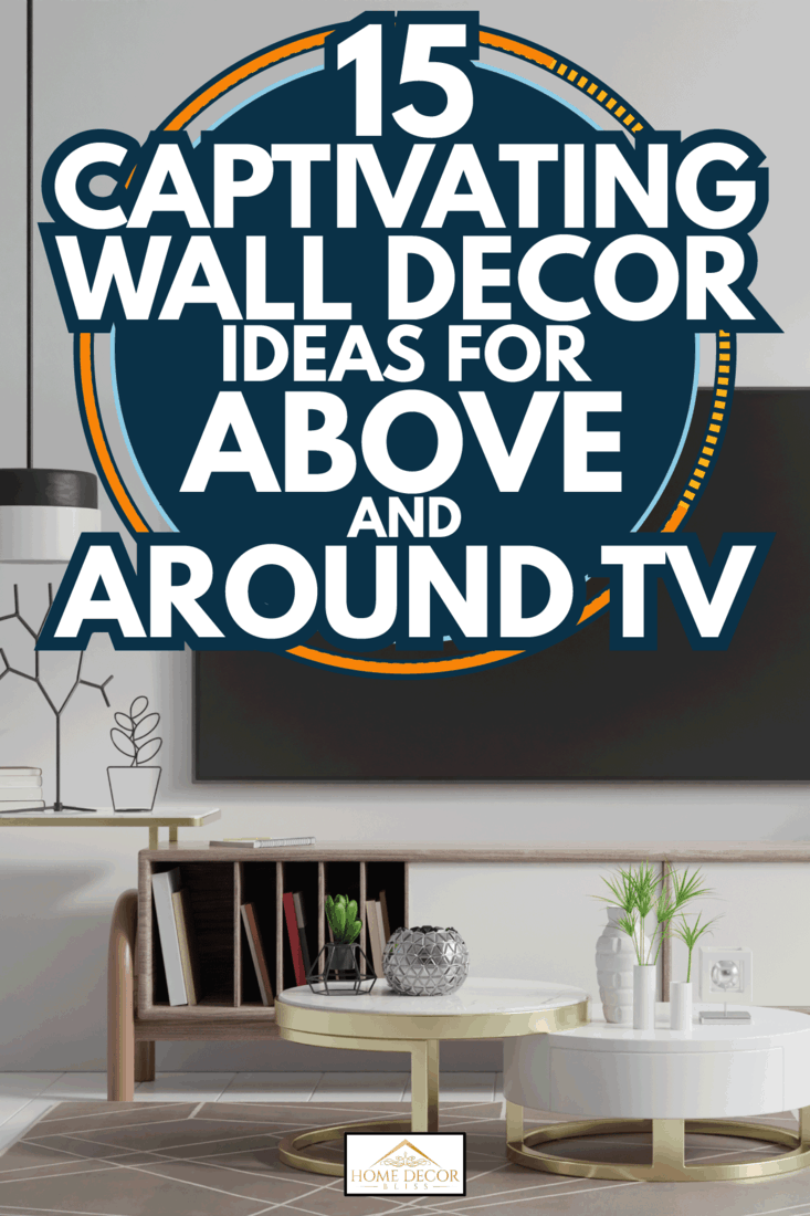 TV on the cabinet in modern living room on white wall background. 15 Captivating Wall Decor Ideas For Above And Around TV
