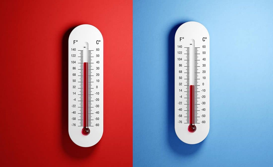 Thermometers with high and low temperatures on red and blue backgrounds