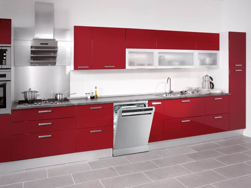 Wide angle shot of a stage set modern domestic kitchen with modern appliances