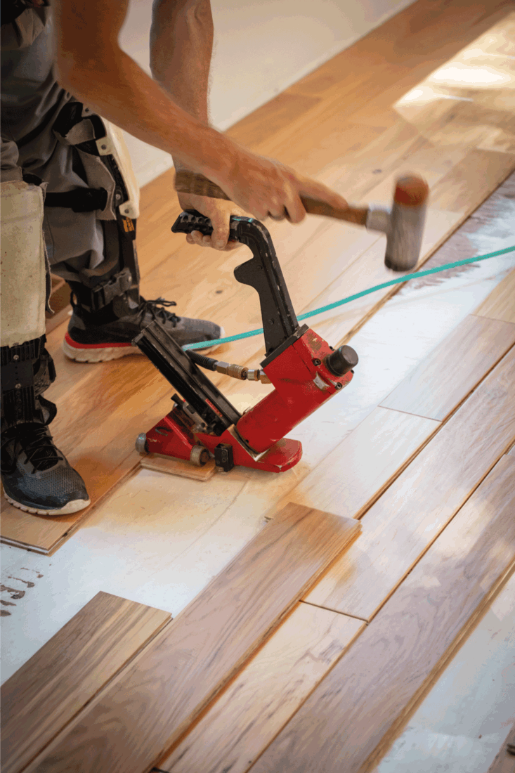 Wood floor installing with pneumatic nail gun in home