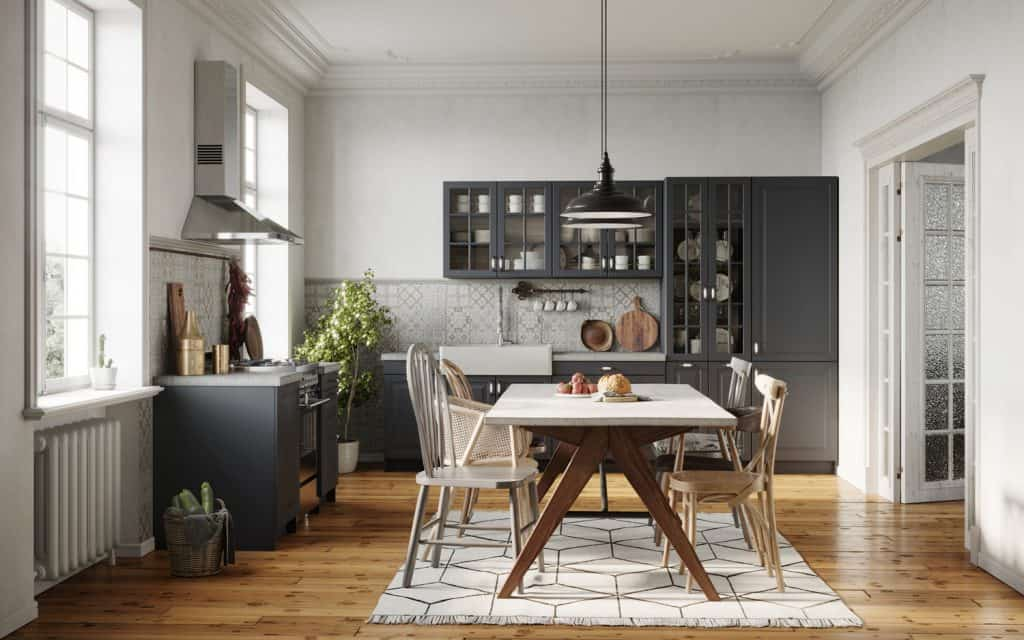 dining room area design with wooden table and chairs. Small kitchen with dining area
