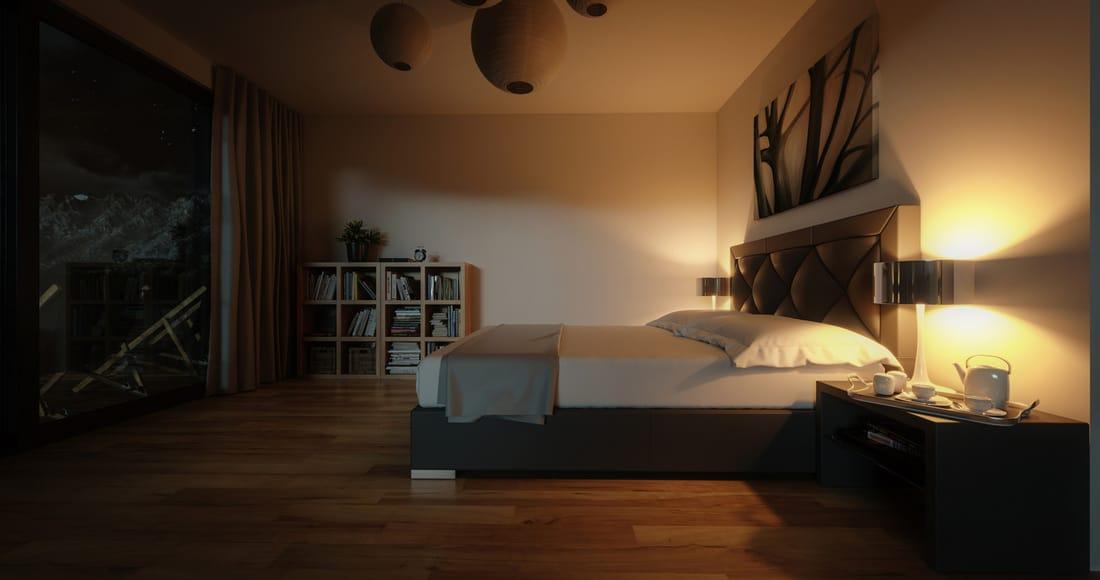 modern bedroom at night