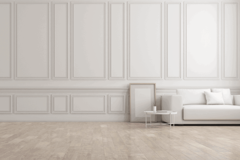 white living room in classic style with furniture on bright laminate floor ang raised wall panelling. What's The Best Paint Finish For Wall Paneling