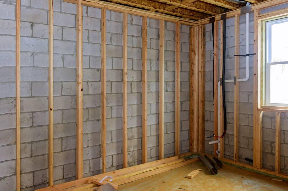 Basement unfinished under construction residential home framing