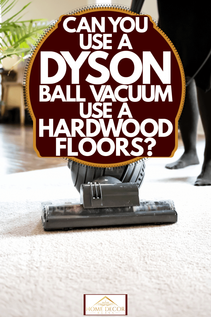 A woman using a Dyson ball vacuum to clean her carpet, Can You Use A Dyson Ball Vacuum On Hardwood Floors?