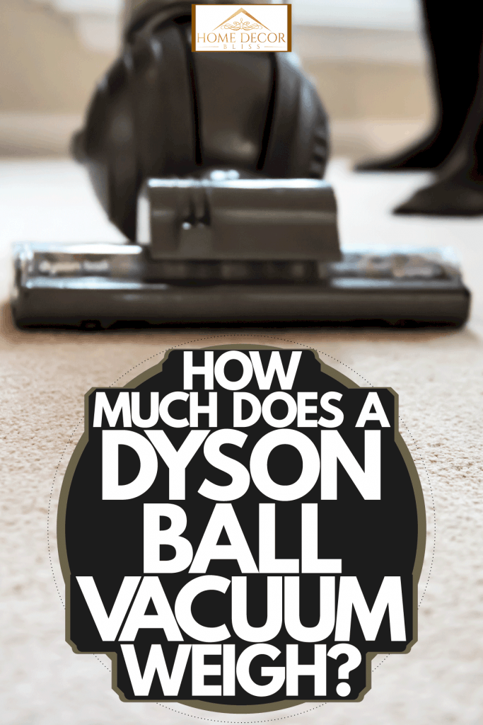 A woman using a Dyson ball vacuum cleaner on her carpet, How Much Does A Dyson Ball Vacuum Weigh?