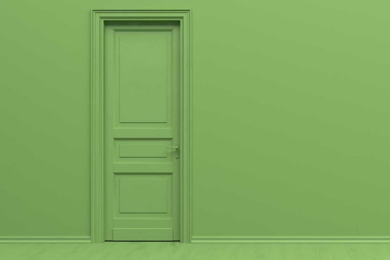 Interior of a room in plain monochrome green color with single door, Should Interior Doors Be The Same Color As The Walls?