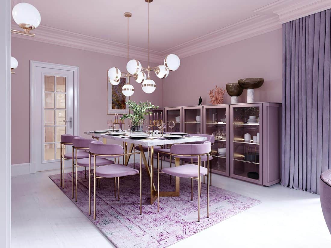 Lilac color dining room in trendy art deco style with modern furniture