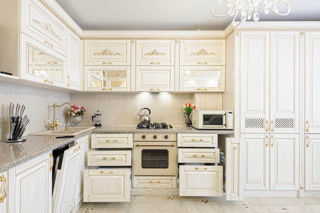 Luxury modern beige and cream colored kitchen