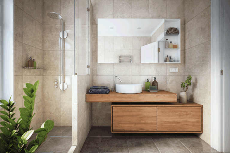 modern bathroom with gray tiles and wooden theme. How To Install A Shower Base On A Wooden Floor
